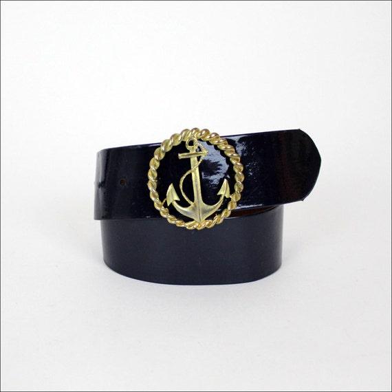 HOLD brass anchor belt / wide navy blue cinch belt M