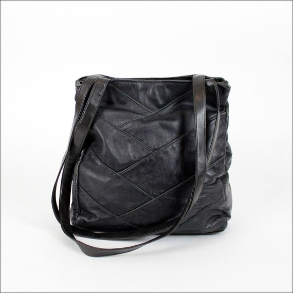 SALE... chevron black leather tote / buttery soft patchwork bag