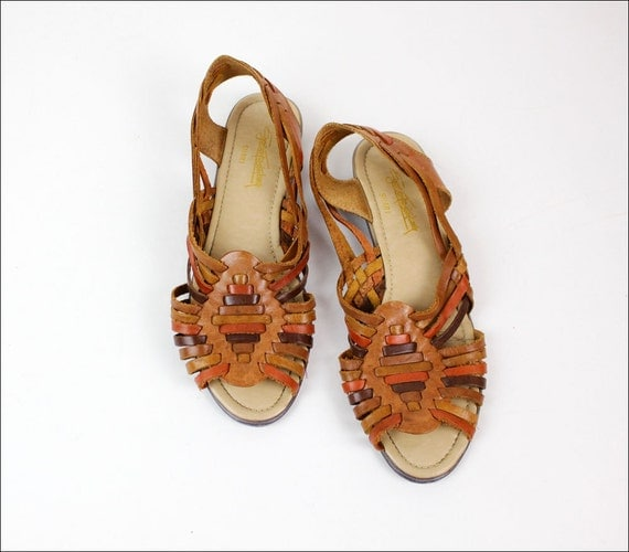 woven leather huaraches 8 / brown & rust sling back sandals / Egon Von Furstenberg