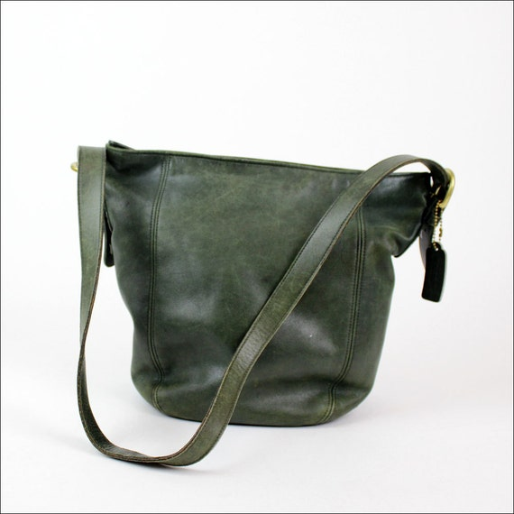 vintage COACH green leather hobo / slouchy hunter green purse