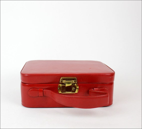 HOLD red leather box purse / mini suitcase or make-up box