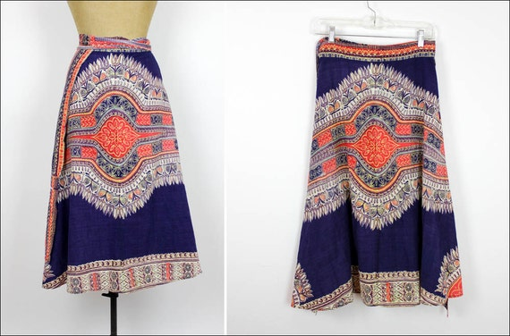 vintage 70s dashiki wrap skirt / ethnic tribal print