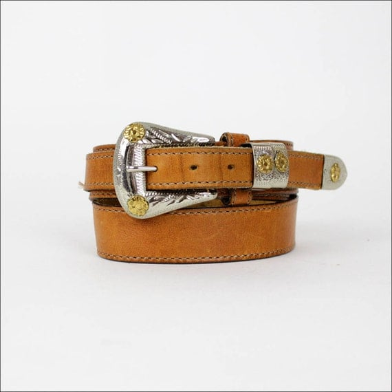 western leather belt / equestrian two tone metals XS/S