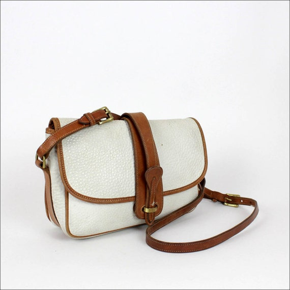 Dooney and Bourke white leather bag / two tone satchel / ivory & tan AWL purse