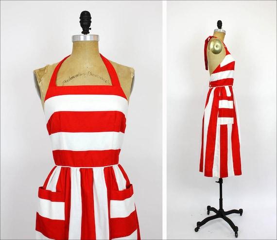 stripe sun dress S / block stripe LANZ criss cross back dress / red and white