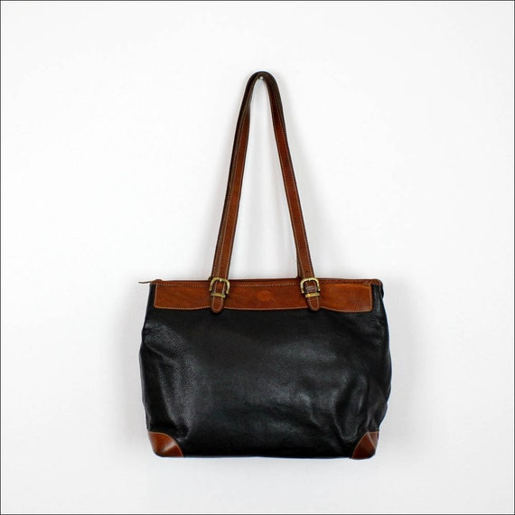 two tone saddle leather tote / zipper top