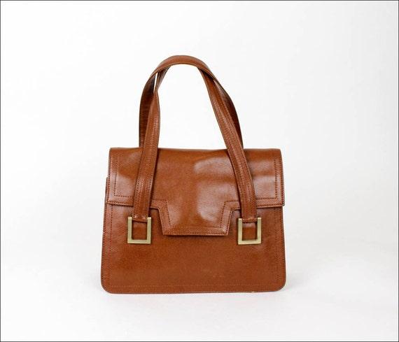 chestnut leather bag / Argentina accordion satchel / goldtone hardware