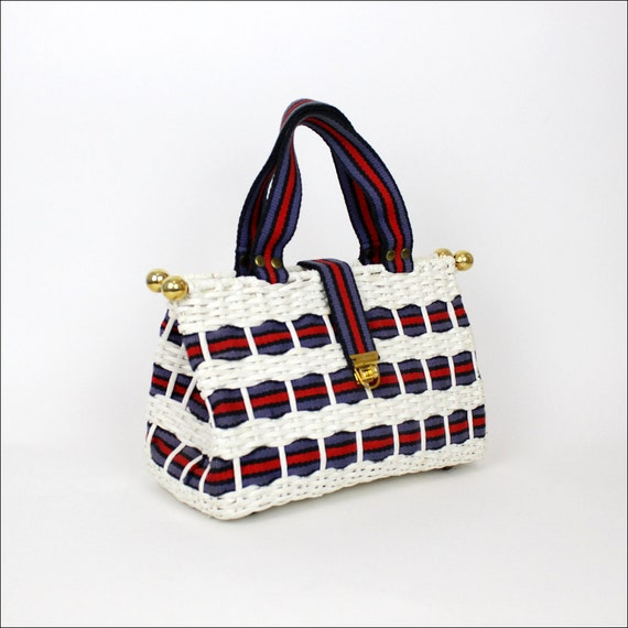 1960s straw handbag / red, white and blue Rosenfeld purse