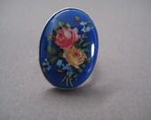 Vintage Blue Floral Rose Cabochon Ring