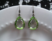 Green Earrings, Peridot Two Tone Vintage Glass Drop Earrings