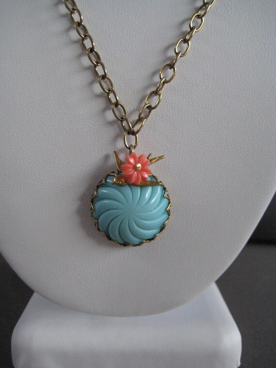 Vintage Turquoise Glass and Sparrow Pendant Necklace with Coral Flower, Coral and Teal Necklace, Cockatoo Necklace