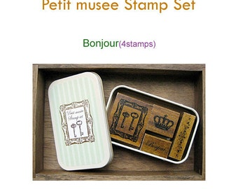 Petit musee Rubber Stamp Set of 4 - Bonjour