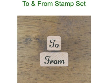 Simple Rubber Mini Stamp Set of 2 - To & From