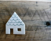 Green Roof House Ceramic Brooch