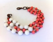 Peaceful salmon coral white shell beads bracelet