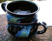 Chili Bowl Ceramic Mug Large Soup - Black Blue