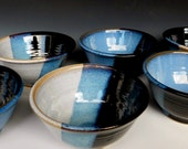Set of 6 Neapolitan Bowls Small Black White Blue
