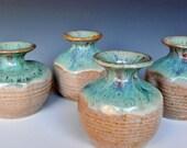 Set of 4 Small Bud Vases Green Cream