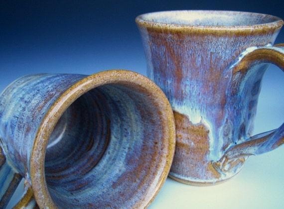 Blue Stoneware Mug  - Speckled Blue-Cream glaze -14 oz