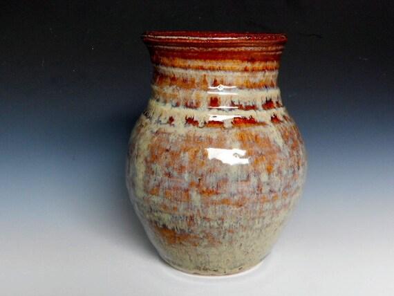 Handmade Flower Vase - Red Honey Glazed