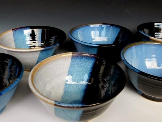 Set of 6 Neapolitan Bowls Small Black White Blue
