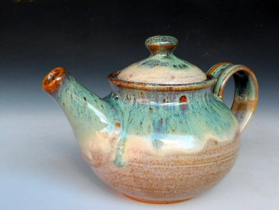 Personal Teapot Green Speckled Cream Glaze