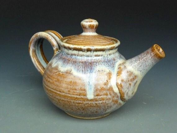 Personal Teapot Cream Amber  Glaze