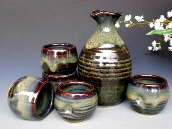 Sake Set. Pitcher and 5 cups