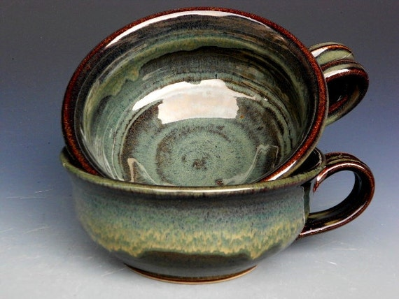 French Onion Soup Bowl Mug Green Glaze
