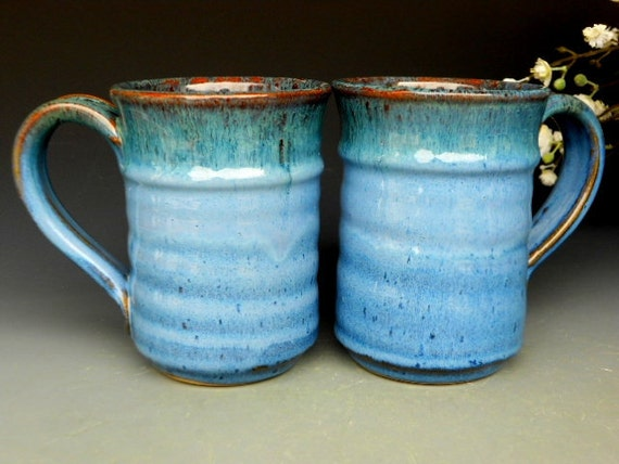 Pair of Blue Steins. Pottery Mug Ceramic Coffee Mug