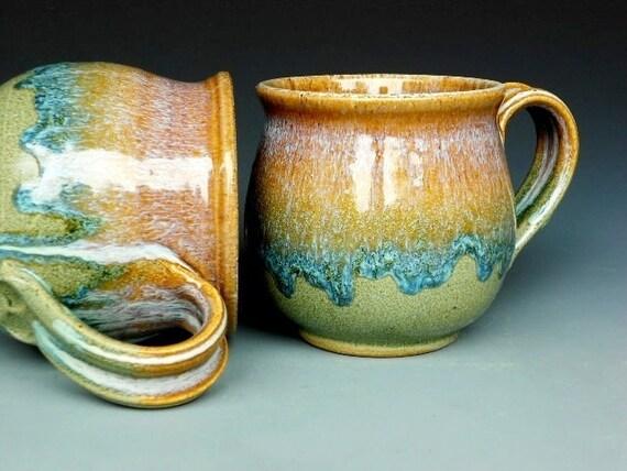 Pottery Mug Ceramic Coffee Mug Round Waterfall Amber Blue