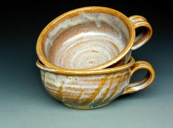 French Onion Soup Mug Ceramic Striped Amber Cream