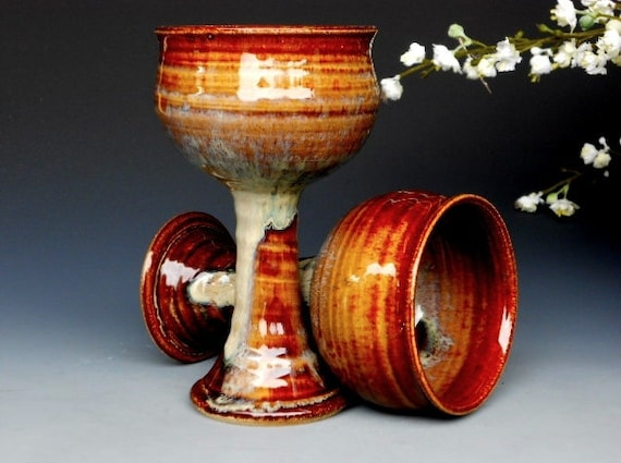 Pair of Small Cordial Goblets - Pottery Cup Ceramic Chalice