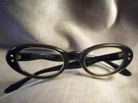 Vintage 50's Imperial plastic brown Cateye frames / eyeglasses