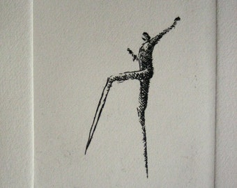 "Original etching ""Walking"""