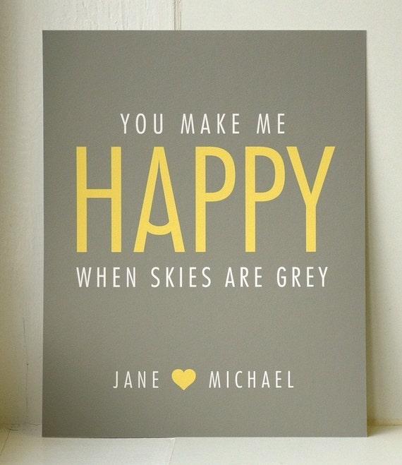 YOU MAKE ME HAPPY // personalised art print // MEDIUM