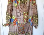 Vintage Brown Day Dress Floral Patchwork Dress (Destash Sale)