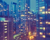 Twinkling City, 6x8, City Lights, Urban, Big City Dreams, Imagination, Adventure, Pastel Soft Colours, Photographic Print