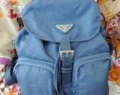 SALE.......Vintage PRADA Blue Silver Backpack bag, Gorgeous color, Excellent condition. Authentic. Preppy style.