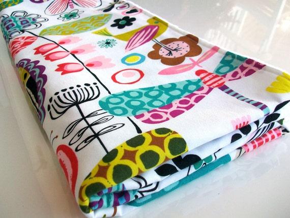 Baby blanket, Alexander Henry June Bug Garden and White Dot Minky