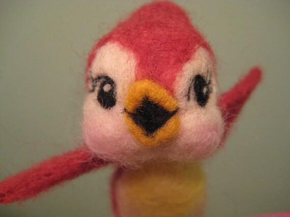 Needle Felted Cardinal Bird