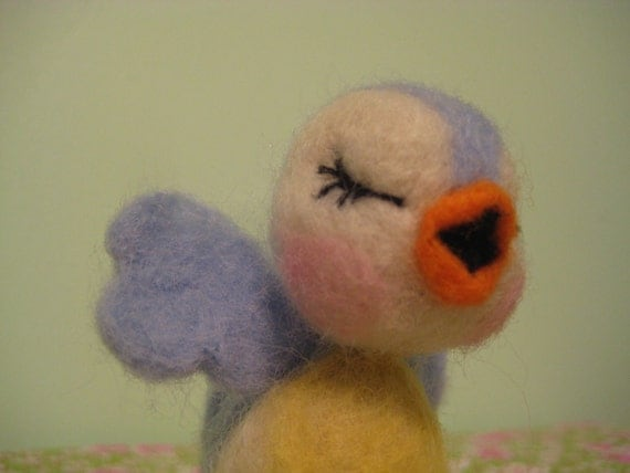 Needle felted Bluebird of Happiness