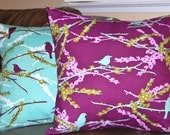 Joel Dewberry Decorative Throw Pillow Covers Lilac and Aqua Pillow Covers - 18 Inches - Aviary 2 by Joel Dewberry Sparrows in Plum and Lila