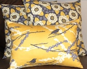 Toss Pillow Covers - 18 Inches Plus Lumbar - Pair of Bloom Granite and Lumbar in Sparrows Vintage Yellow