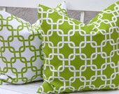 Decorative Throw Pillow Covers Chain Link Decorative Pillow Covers Cushion Covers Accent Pillows 20 x 20 Inches Green and White Chain