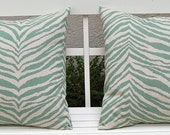 Accent Pillows Decorative Pillows Cushion Covers Toss Pillow Covers 20 x 20 Inches Zebra Print in Aqua on Natural