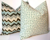 NEW Fabric Chevron Decorative Pillows, 20 x 20 Throw Pillow Covers, Accent Pillows, Wonky Blue and Gray Chevron and Greek Key PIllows