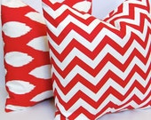 Decorative Pillows, Throw Pillow Covers, Accent Pillows 16 x 16 Inches Red and White Ikat and Chevron