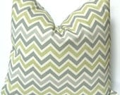 Pillow Decorative Pillows Chevron Pillow Covers Missoni Style 20 x 20 Inches - Gray and Green on Natural Zig Zag Chevron