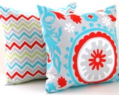 Throw Pillow Covers Missoni Style  20 x 20 Inches - Bright Multicolor Chevron and Suzani